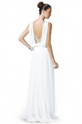 Whıte Small Size Long Sleeveless Evening Dress K5513