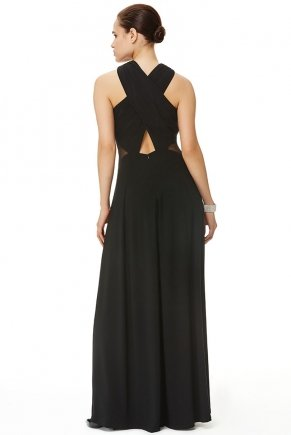 Black Small Size Long Sleeveless Evening Dress Y6041