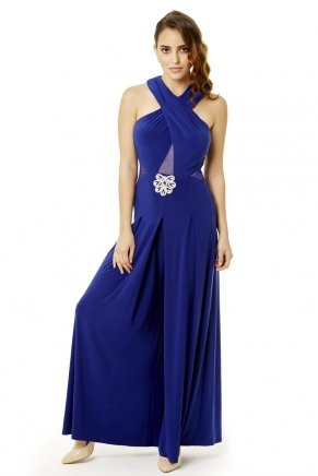 Parlıament Blue Small Size Long Sleeveless Evening Dress Y6041