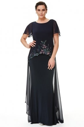 Long Chiffon Big Size Short Sleeve Evening Dress Y6061