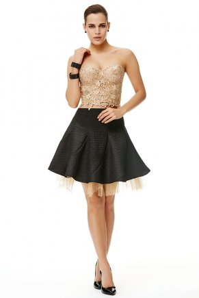 Gold/black Small Size Short Sleeveless Evening Dress Y6066