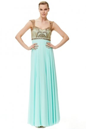 Apple Green/gold Small Size Long Flared Evening Dress Y6233