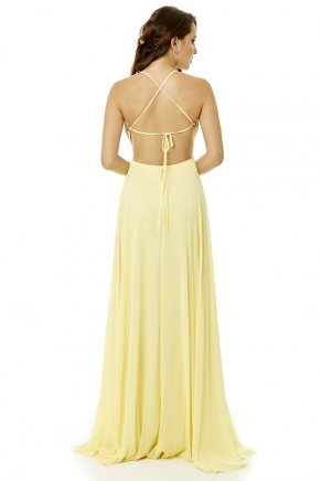 Banana Yellow Long Small Size Strappy Evening Dress Y6271