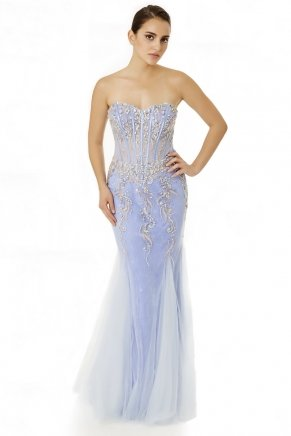 Lavender Lılac Strapless Small Size Long Evening Dress Y6458