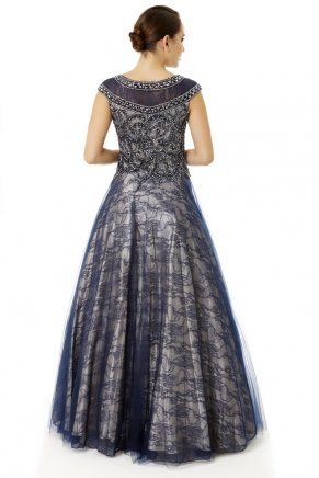 Long Small Size Boat Neck Flared Evening Dress Y6470
