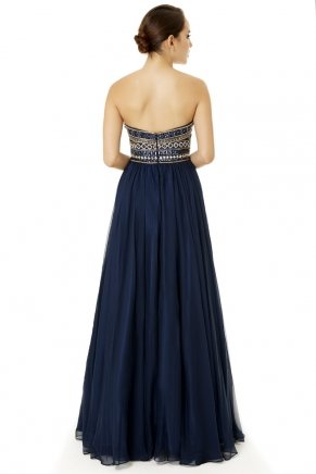 Navy  Strapless Small Size Long Evening Dress Y6479