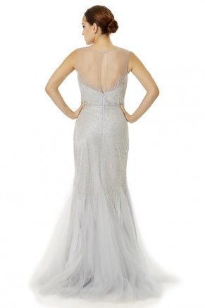 Grey Small Size Long Tailed Engagement Dress Y6481
