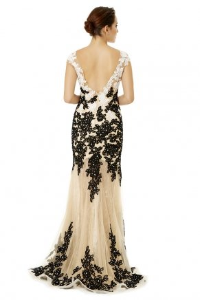 Long Small Size Boat Neck Tailed Evening Dress Y6486
