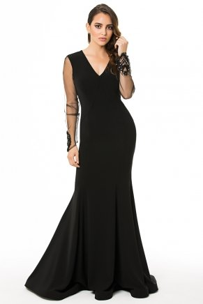 Long Small Size Long Sleeve V Neck Evening Dress K6019