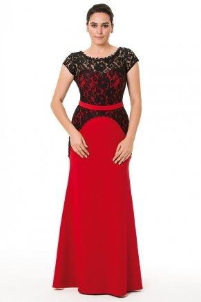 Dragon Red/black Big Size Long Short Sleeve Evening Dress K6028
