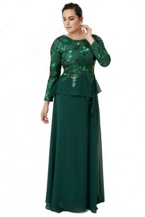 Long Small Size Long Sleeve Crepe Evening Dress Y6403