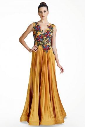 b6dc8fead626a Hardal Sarı Küçük Beden Uzun Kolsuz Nişan Elbisesi K5637