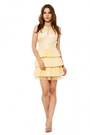 4f0b350ff33b9 Banana Sarı Küçük Beden Kısa Tafta Düğün Elbisesi Y6412