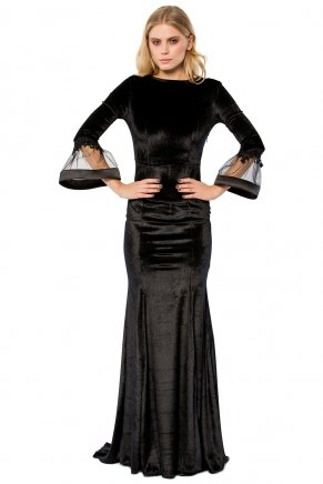 Long Flounce Sleeve Small Size Tailed Evening Dress K6155