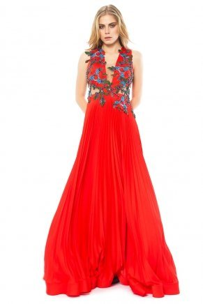 Long Cleavage Small Size Sleeveless Evening Dress K6117