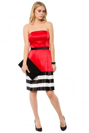Strapless Small Size Short Sleeveless Evening Dress Y7369