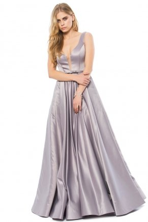 Grey Small Size Long Flared Engagement Dress K6145