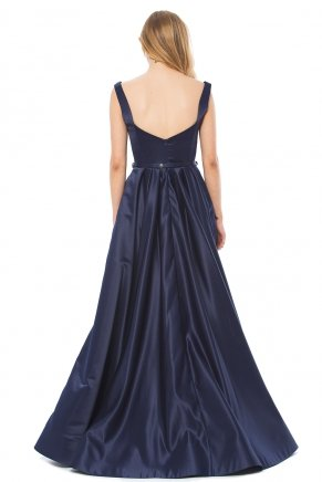 Navy  Small Size Long Flared Evening Dress K6145