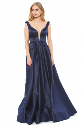 Long Cleavage Small Size Flared Evening Dress K6145