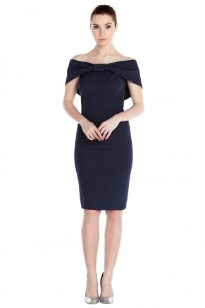 Navy  Small Size Short Boat Neck Evening Dress Y7495