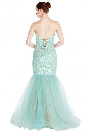 Strapless Small Size Long Sleeveless Evening Dress Y7184