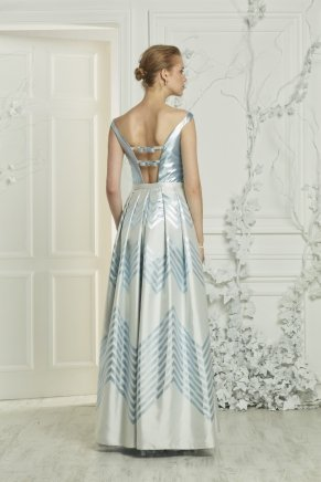 Long Taffeta Small Size Boat Neck Evening Dress Y7079