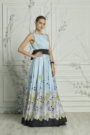 Long Taffeta Small Size Flared Evening Dress Y7123