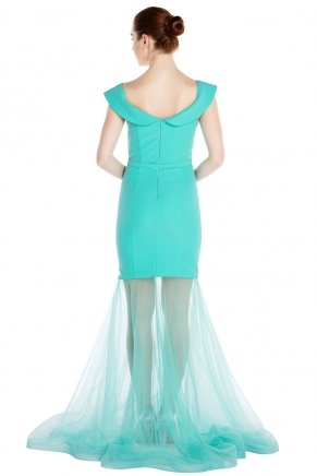 Crepe Small Size Long Short Sleeve Engagement Dress K6079