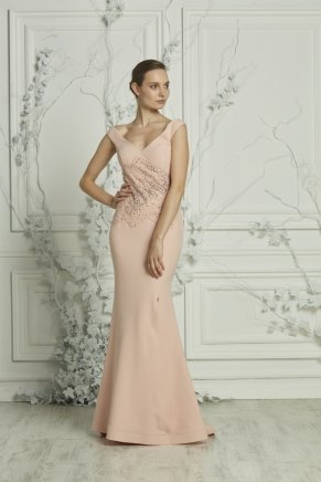 Long Cleavage Small Size Crepe Evening Dress Y7050