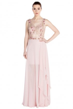 Crepe Small Size Long Sleeveless Engagement Dress Y7291