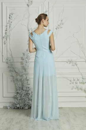 Powder Blue Small Size Long Short Sleeve Engagement Dress Y7338