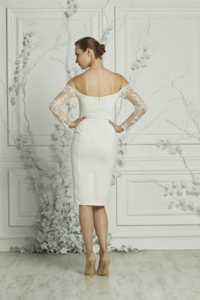 Crepe Small Size Short Boat Neck Engagement Dress Y7460