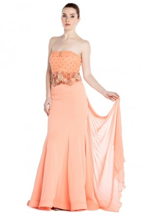 Strapless Small Size Long Sleeveless Evening Dress Y7012