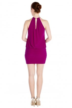Purple Small Size Short Sleeveless Evening Dress Y7634