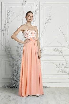Strapless Small Size Long Sleeveless Evening Dress Y7401