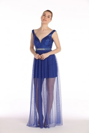 Long Cleavage Small Size V Neck Evening Dress Y7566