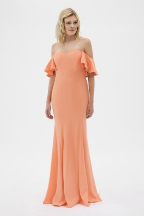 Papaya Small Size Long Strapless Evening Dress Y7235