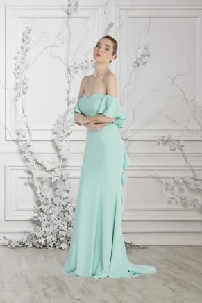 Apple Mınt Small Size Long Strapless Evening Dress Y7235