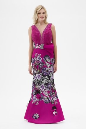 Fuchsıa  Small Size Long Evening Dress Y7534