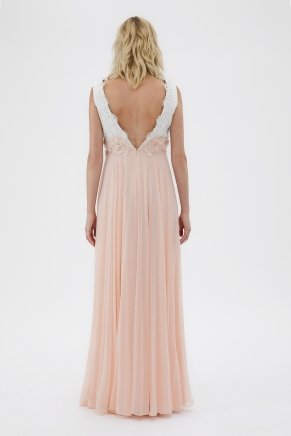 Whıte/papaya Small Size Long Evening Dress Y7620