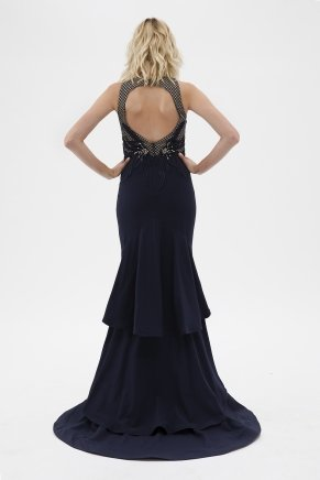 Navy  Small Size Long Evening Dress Y7204