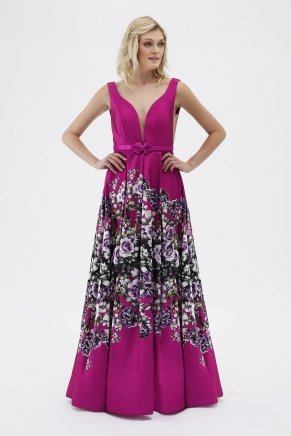 SMALL SIZE LONG PRINT PERFECT EVENING DRESS Y7546