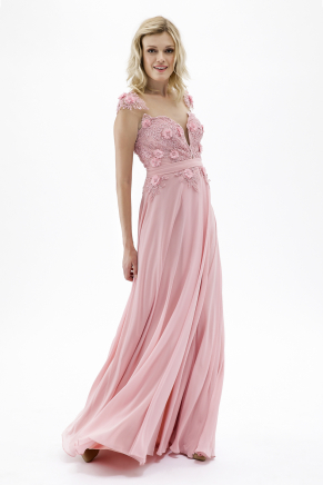Pink Small Size Long Evening Dress Y7649