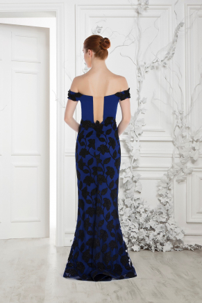 Navy  Small Size Long Evening Dress Y7532