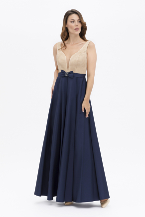 Navy  Small Size Long Flared Evening Dress Y7574