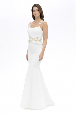 Whıte Small Size Long Evening Dress Y7596