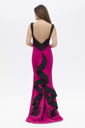 Fuchsıa  Small Size Long Evening Dress Y7547