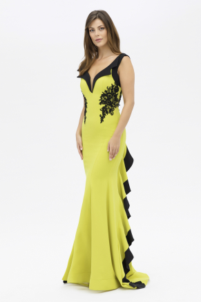 Lemon Yellow Long Small Size Evening Dress Y7547