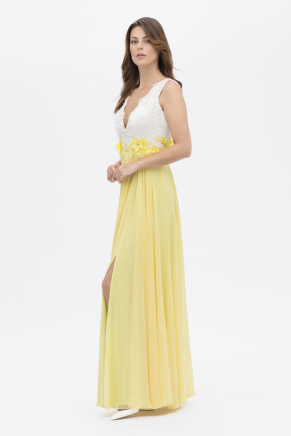 Whıte/banana Yellow Long Small Size Evening Dress Y7620