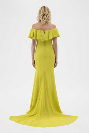 Lemon Yellow Long Small Size Evening Dress Y7434